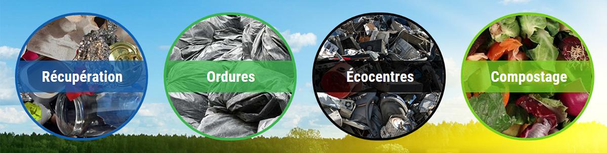 Photomontage illustrant la récupération, les ordures, les Écocentres et le compostage.