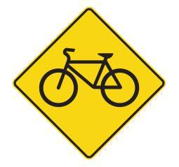 Un panneau de route illustrant une bicyclette.