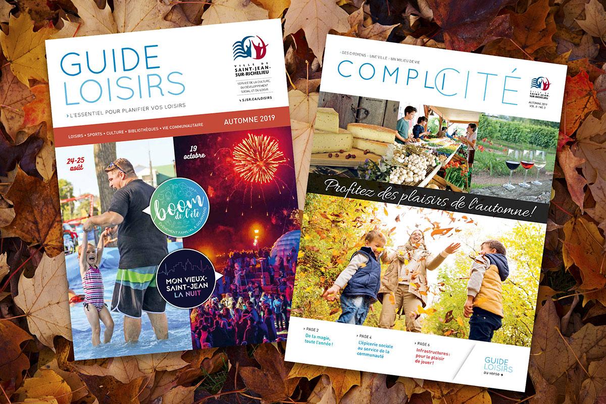 Les pages couvertures du Guide loisirs et du magazine Complicité.