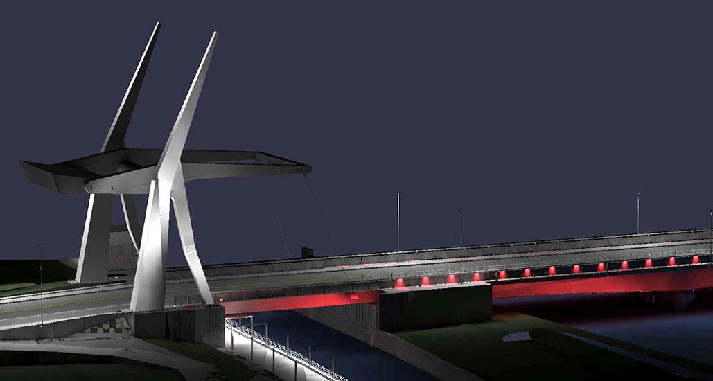 Illustration du nouveau pont, de nuit.
