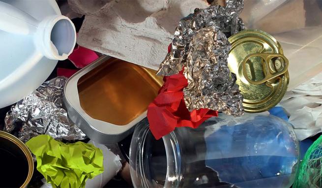 Diverses matières recyclables.