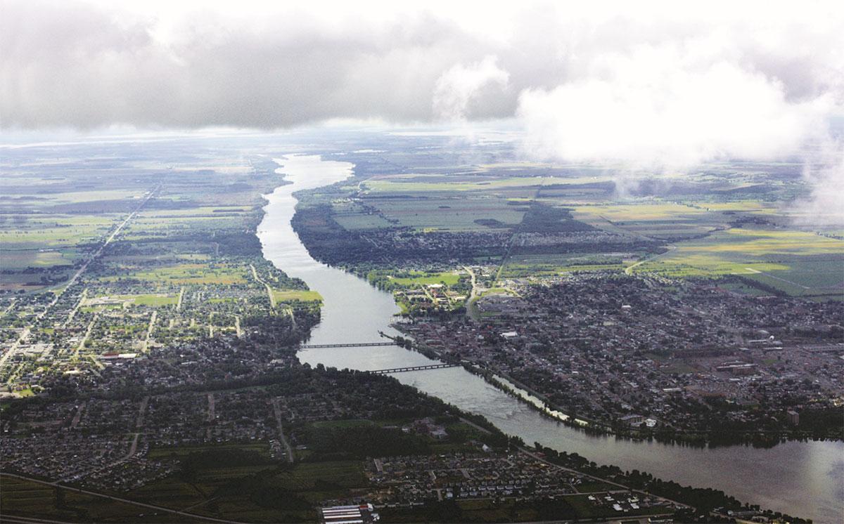 Vue aérienne de la rivière Richelieu.