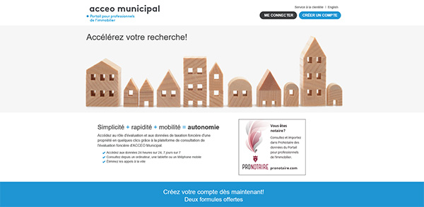 Page d'accueil du site Accéo municipal.