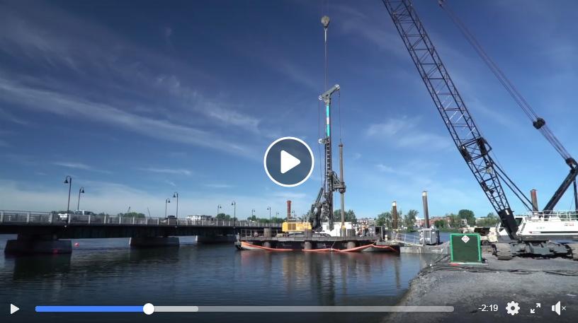 Vidéo réalisée par Pomerleau lors des travaux du nouveau pont.