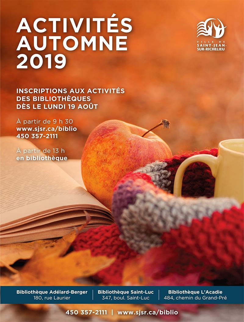 Couverture du guide des activités automne 2019.