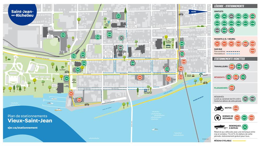 Plan des stationnement du Vieux-Saint-Jean