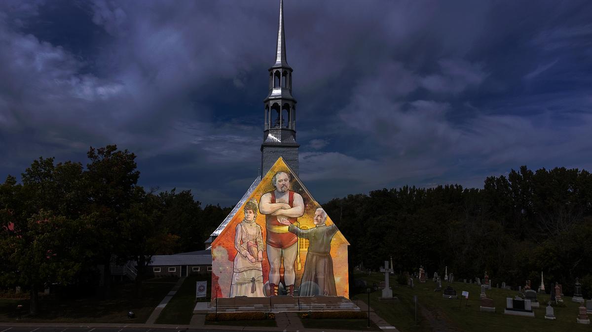 Église de l'Acadie illuminée